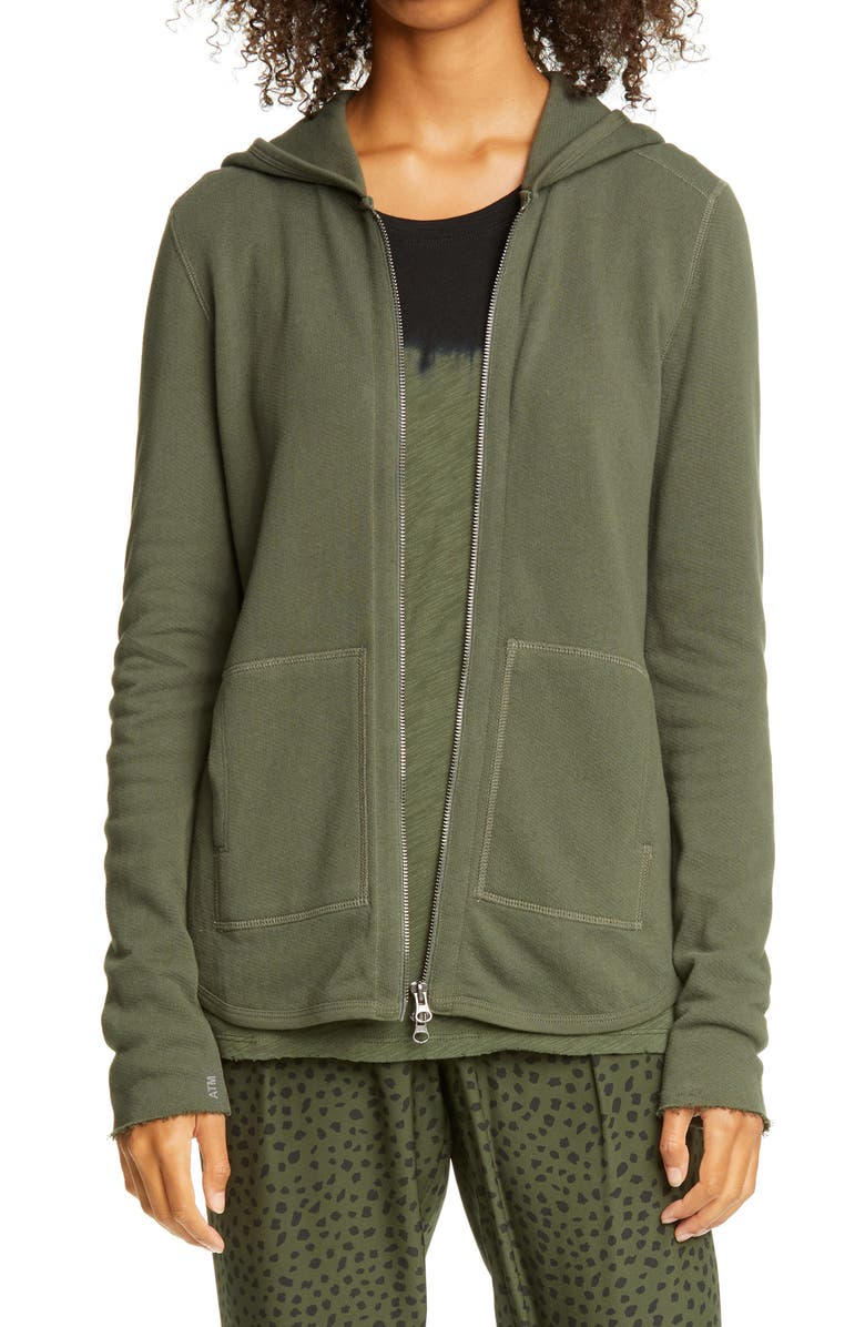 ATM ANTHONY THOMAS MELILLO Front Zip Hoodie, Main, color, IVY
