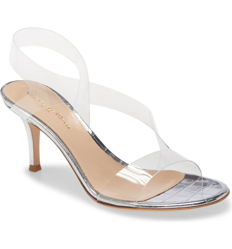 GIANVITO ROSSI Clear Slingback Sandal, Main, color, SILVER/ TRANSPARENT
