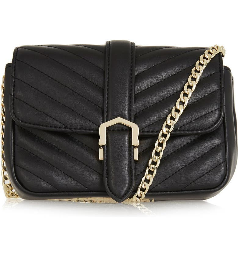 TOPSHOP Magic Quilted Faux Leather Crossbody Bag, Main, color, Black