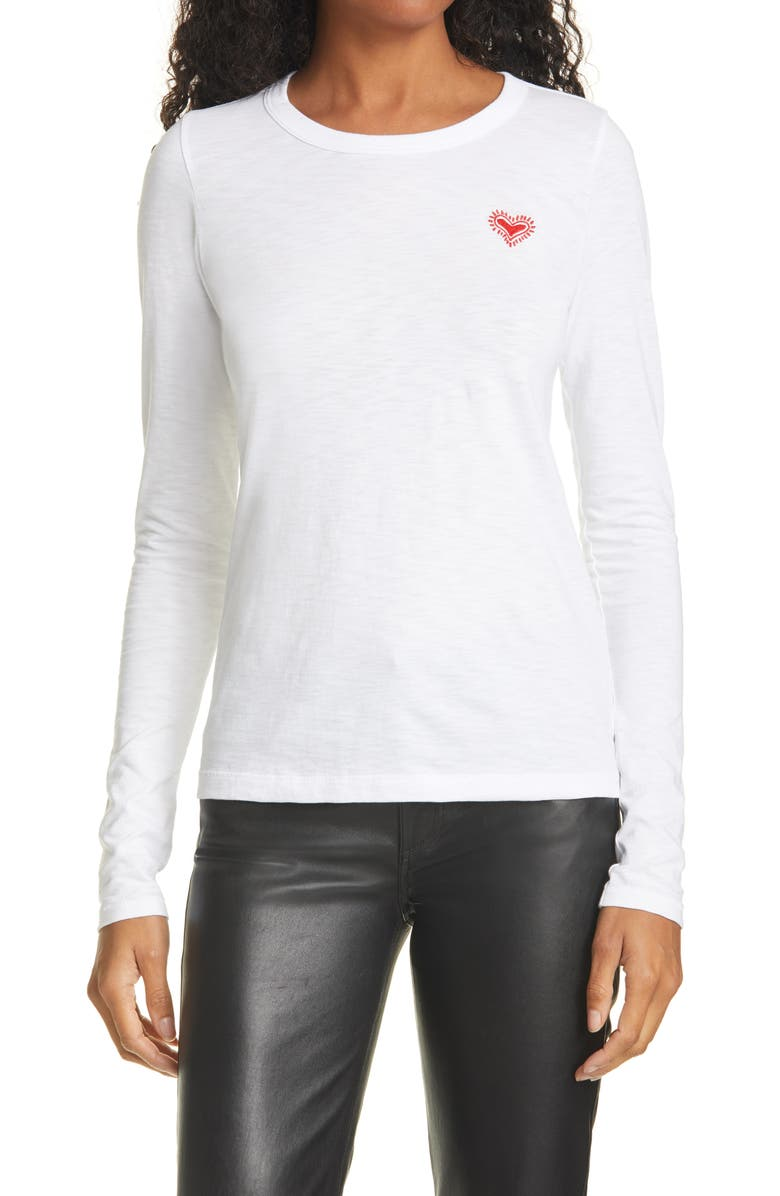 RAG & BONE The Embroidered Heart Long Sleeve Tee, Main, color, WHITE