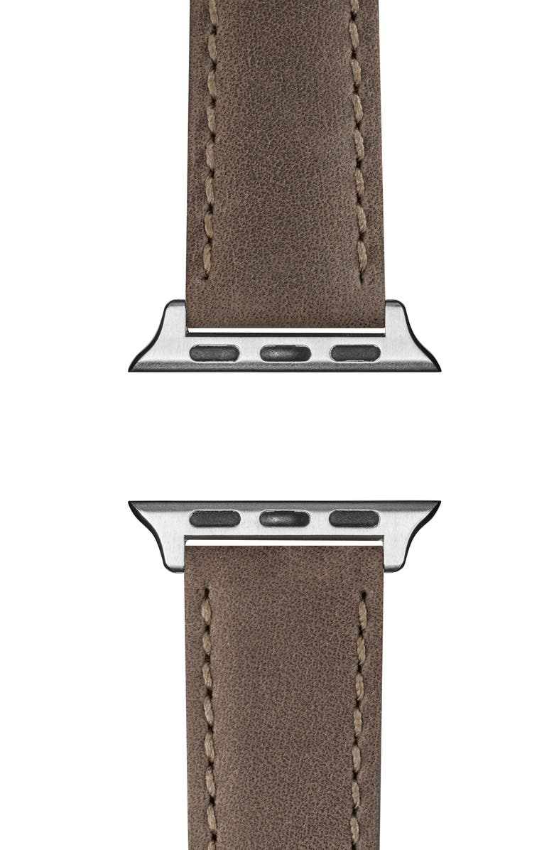 SHINOLA Leather Apple Watch<sup>®</sup> Strap, Main, color, HEATHER GRAY