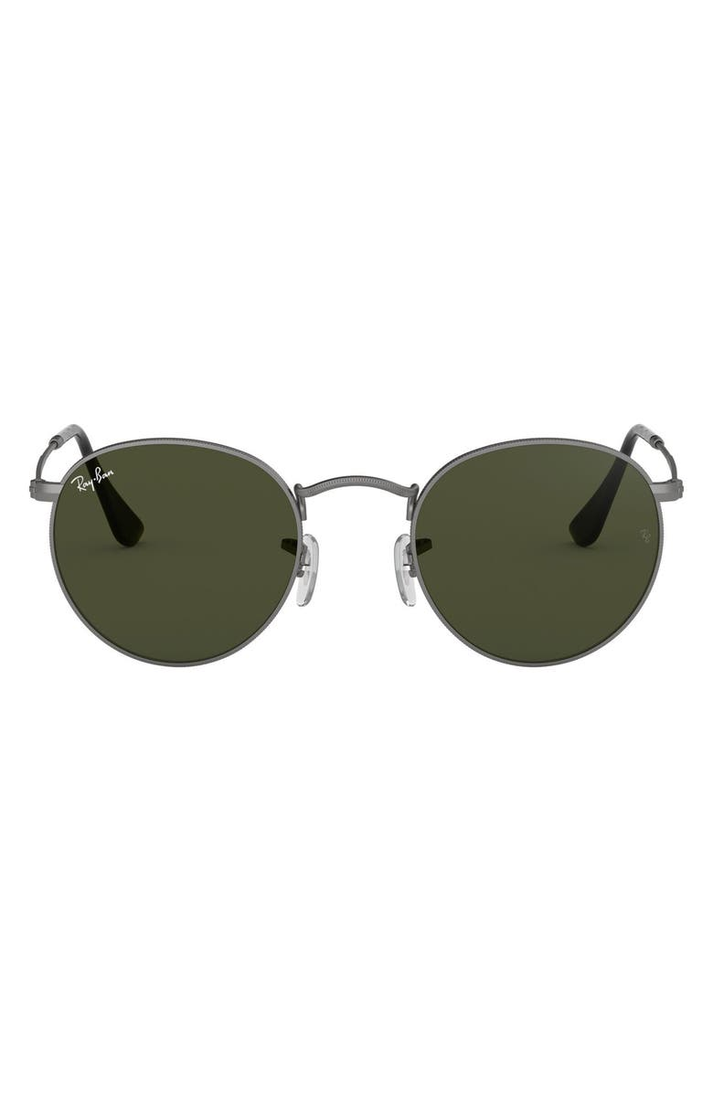 RAY-BAN 50mm Round Sunglasses, Main, color, DNU PEWTER