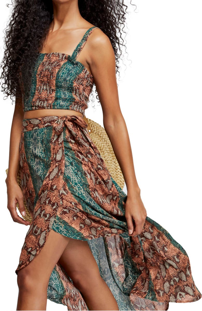 FREE PEOPLE Tropical Date Crop Top & Wrap Skirt, Main, color, 300