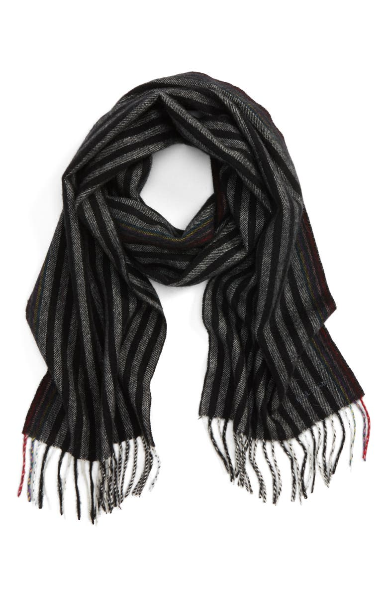 PAUL SMITH Stripe Wool & Cashmere Scarf, Main, color, 001