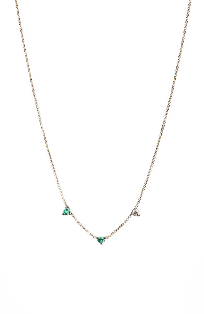 WWAKE Counting Collection Three-Step Emerald & Diamond Necklace, Main, color, YELLOW GREEN