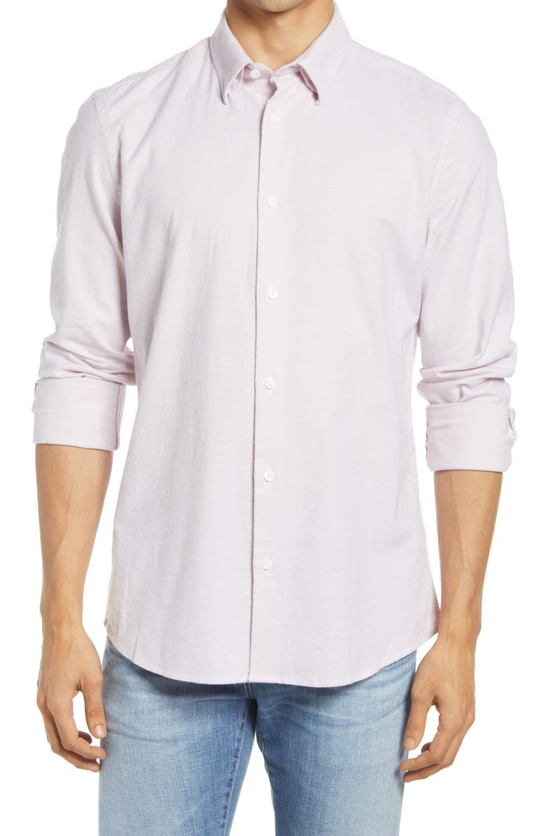 NORDSTROM Oxford Button-Up Performance Shirt, Main, color, PINK ANTIQUE - WHITE OXFORD