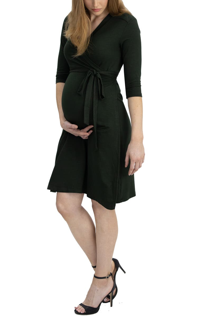 ANGEL MATERNITY Jersey Maternity/Nursing Wrap Dress, Main, color, KHAKI