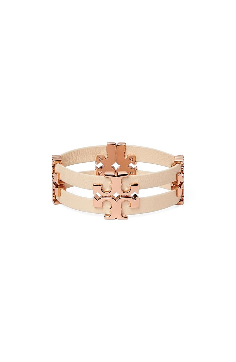 TORY BURCH Serif T Stacked Leather Bracelet, Main, color, ROSE GOLD / SAND