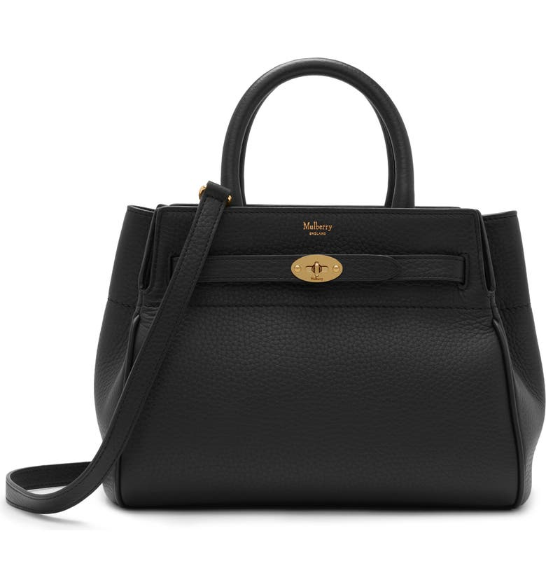MULBERRY Small Belted Bayswater Convertible Leather Satchel, Main, color, BLACK
