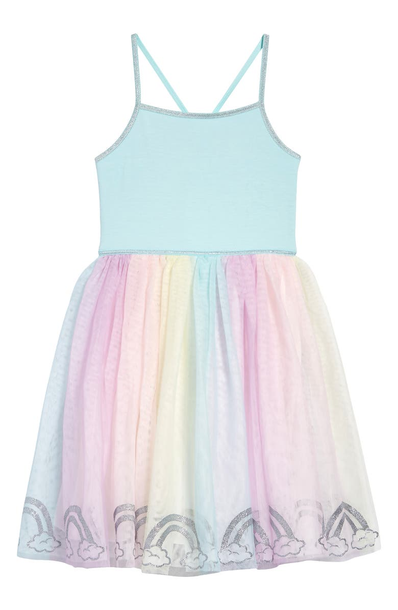 ZUNIE Kids' Rainbow Tutu Dress, Main, color, AQUA