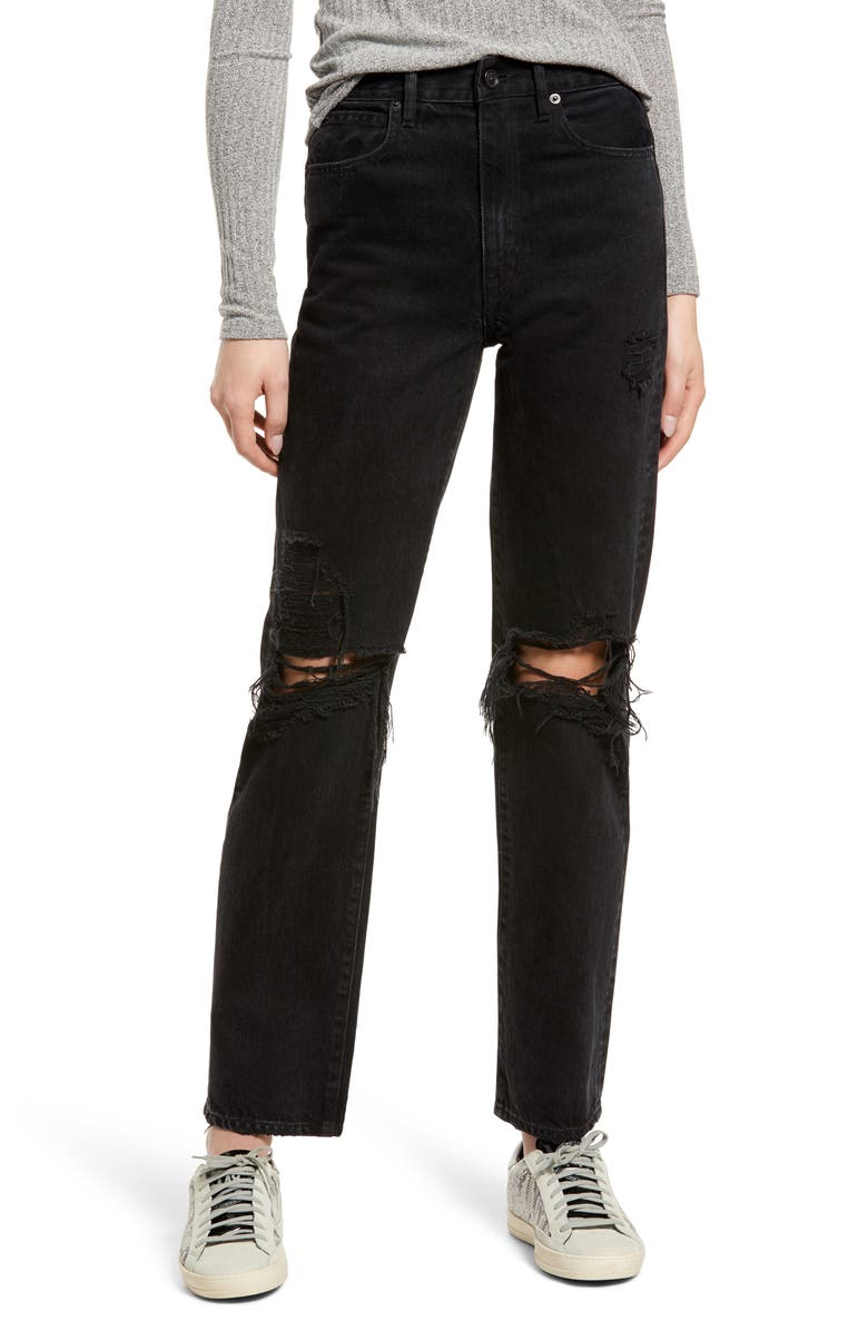 SLVRLAKE Ripped High Waist Nonstretch Straight Leg Jeans, Main, color, SHADOW RIDGE DESTRUCTED