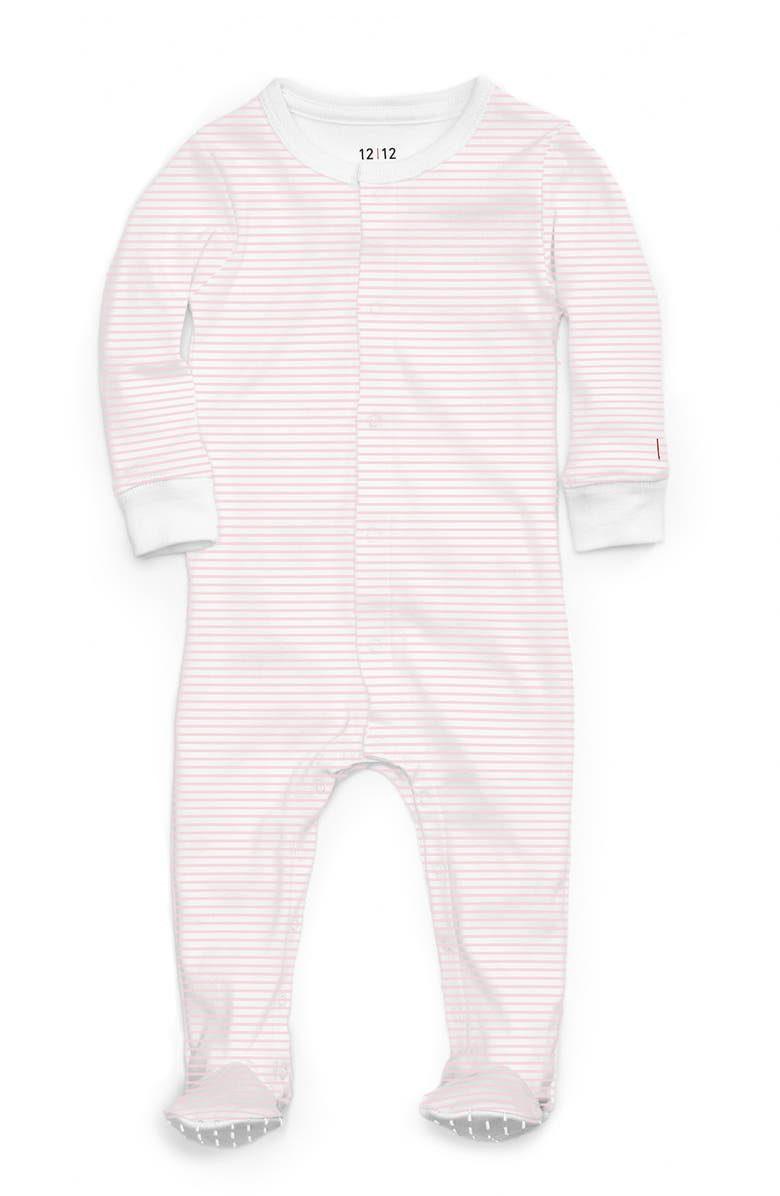 1212 The Nightly Fitted One-Piece Pajamas, Main, color, PINK STRIPE