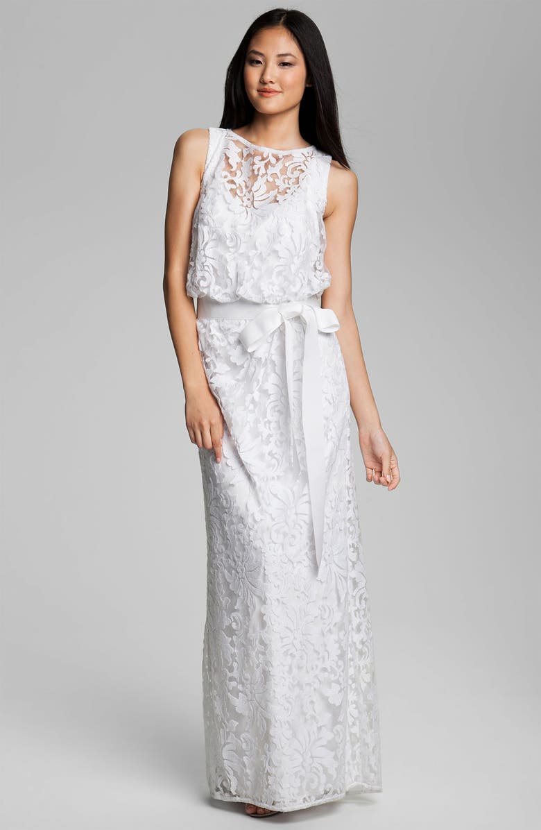 TADASHI SHOJI Embroidered Lace Blouson Gown, Main, color, IVORY