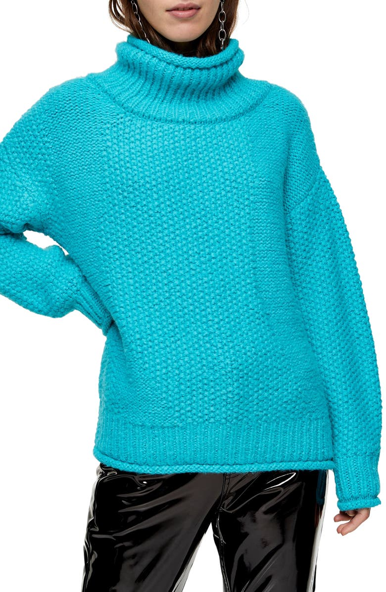 TOPSHOP Mixed Stitch Roll Neck Sweater, Main, color, 400