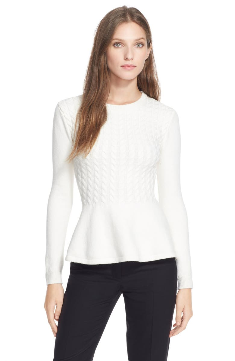 TED BAKER LONDON 'Mereda' Cable Knit PeplumSweater, Main, color, 103