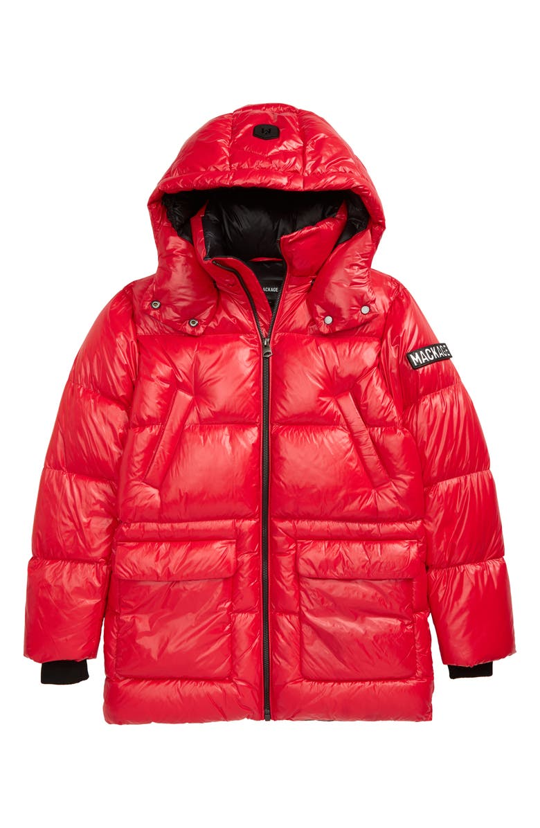 MACKAGE Kennie Down Hooded Puffer Coat, Main, color, RED