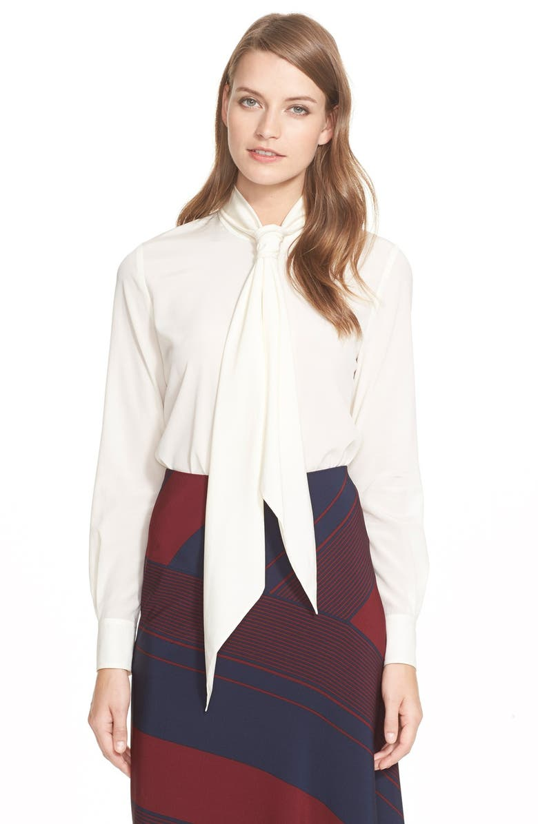 TORY BURCH Tie Neck Stretch Silk Blouse, Main, color, 116