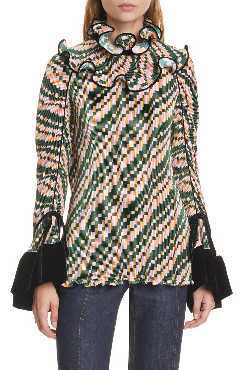 TORY BURCH Pleated Convertible Ruffle Blouse, Main, color, 300