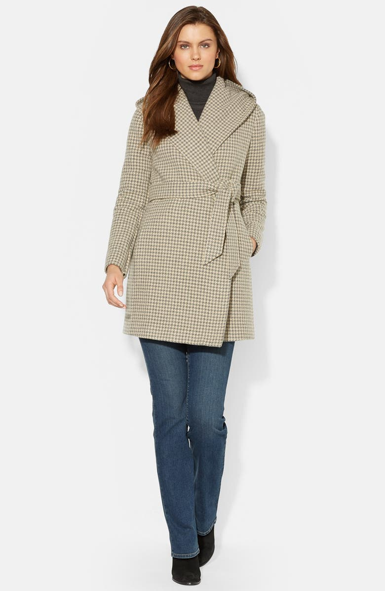LAUREN RALPH LAUREN Houndstooth Hooded Wool Blend Wrap Coat, Main, color, 033