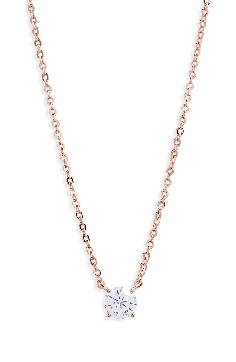 NORDSTROM Cubic Zirconia Pendant Necklace, Main, color, CLEAR- ROSE GOLD