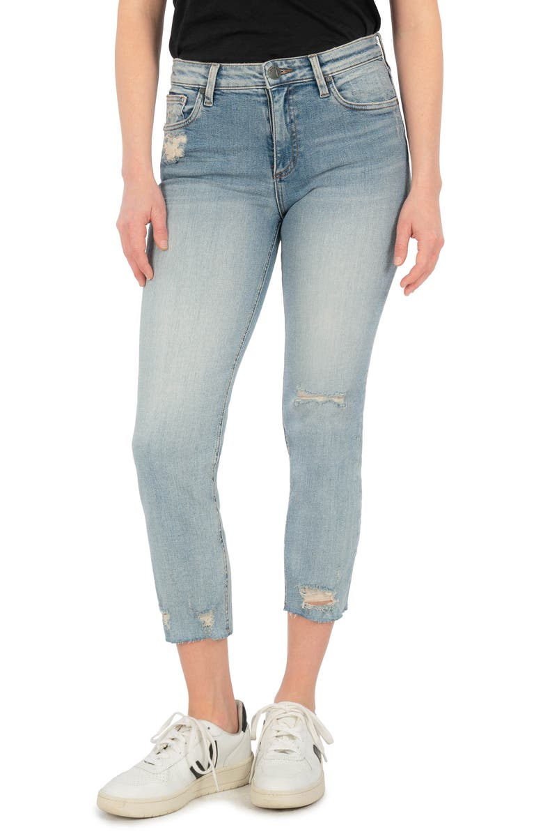 KUT FROM THE KLOTH <sup>®</sup> Rachael Raw Hem Cropped Mom Jeans, Main, color, CACTUS
