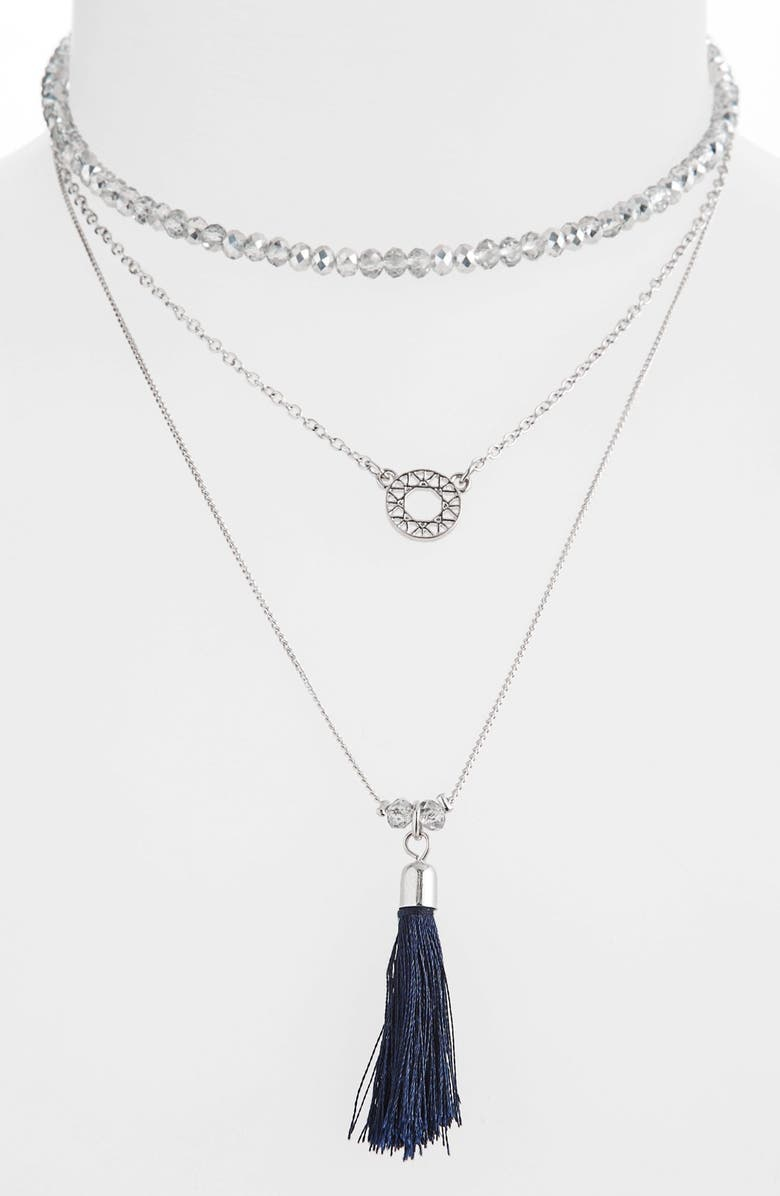 TOPSHOP Tassel Drop Layered Necklace, Main, color, 040