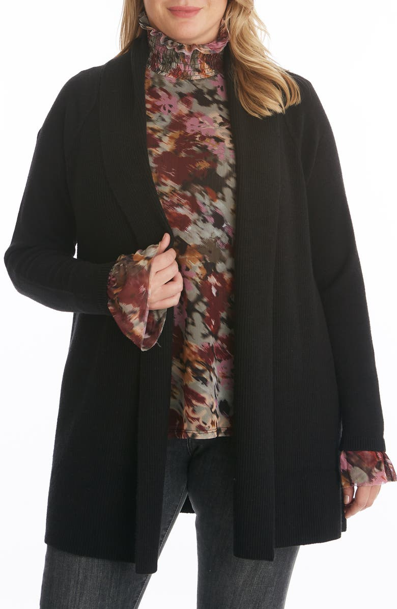 ADYSON PARKER Ribbed Open Long Cardigan, Main, color, BLACK