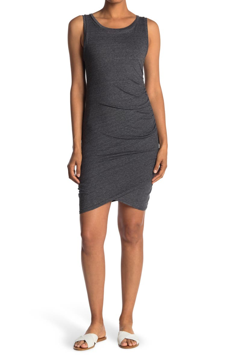 LEITH Ruched Body-Con Tank Dress, Main, color, 002