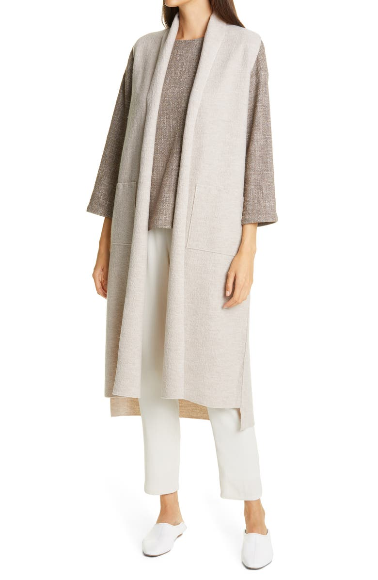 EILEEN FISHER Boiled Wool Long Vest, Main, color, MPOAT