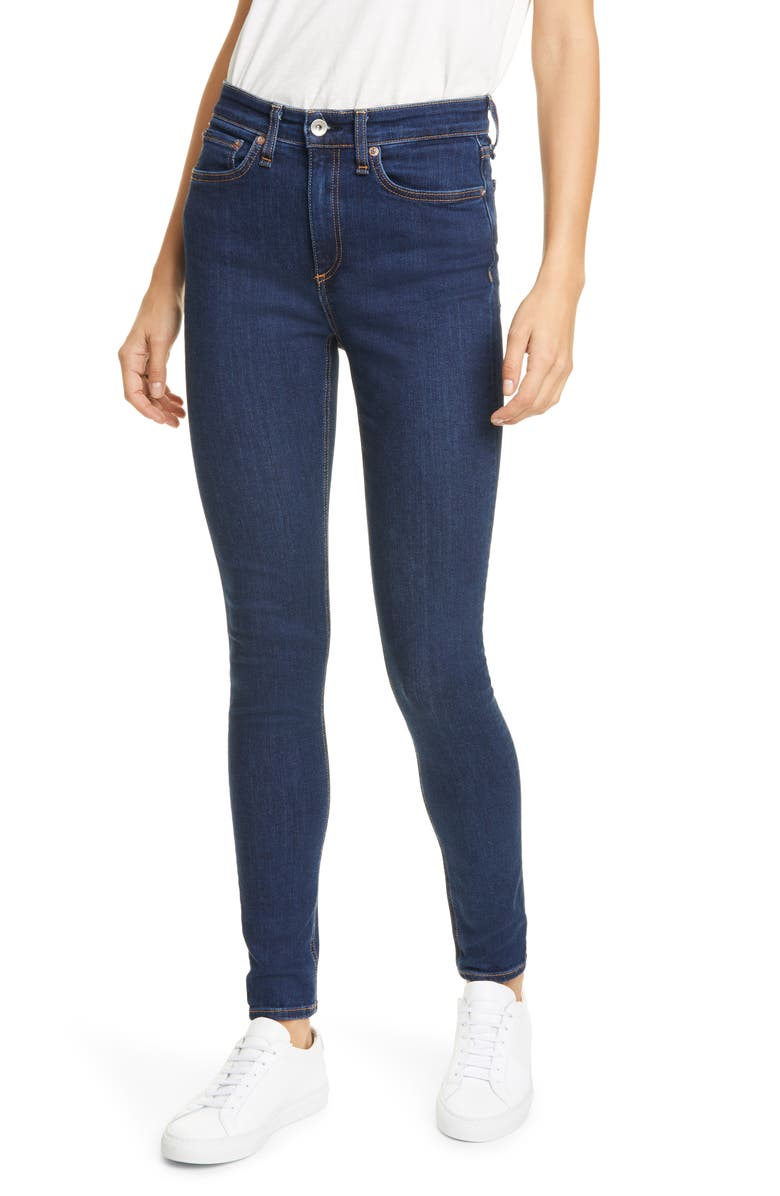 RAG & BONE Nina High Waist Skinny Jeans, Main, color, MARINE BLUE