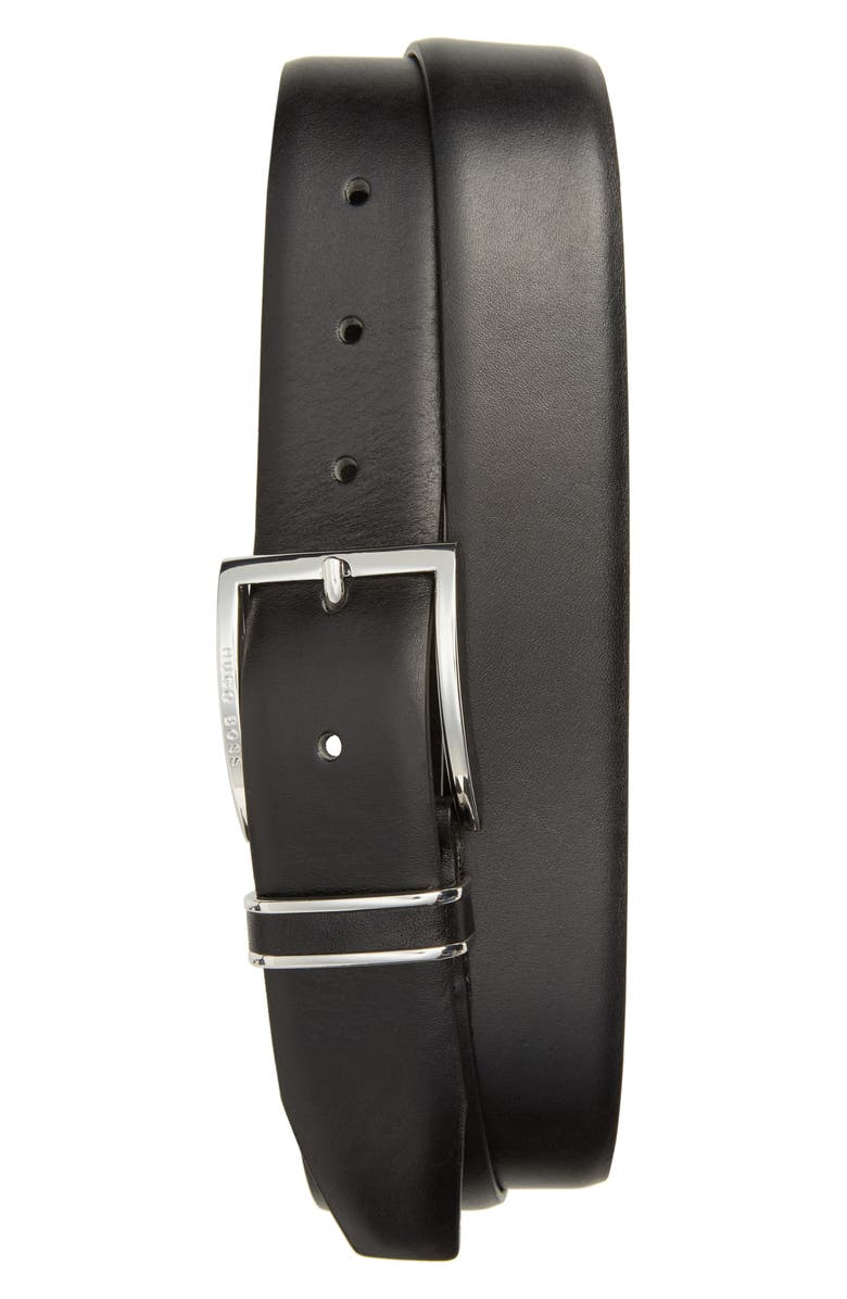 BOSS HUGO BOSS 'Froppin' Leather Belt, Main, color, 001