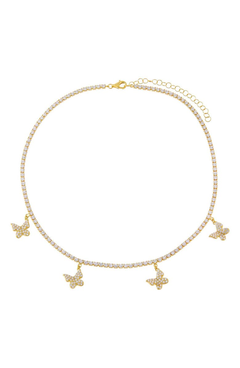 ADINA'S JEWELS Butterfly Tennis Choker, Main, color, Gold