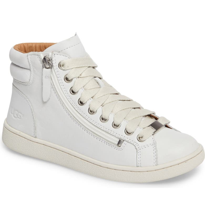 UGG Olive High Top Sneaker, Main, color, WHITE LEATHER