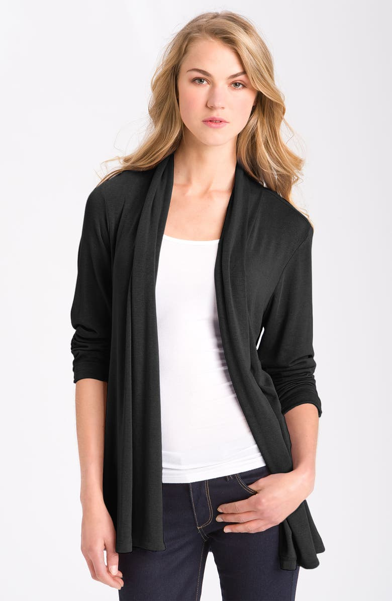 MOD.LUSIVE BY BOBEAU MOD.lusive Ruched Sleeve Long Cardigan, Main, color, BLACK