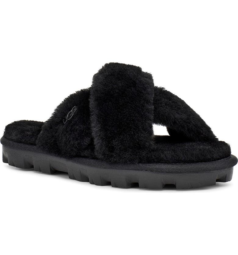 UGG<SUP>®</SUP> Fuzzette Genuine Shearling Slipper, Main, color, 001