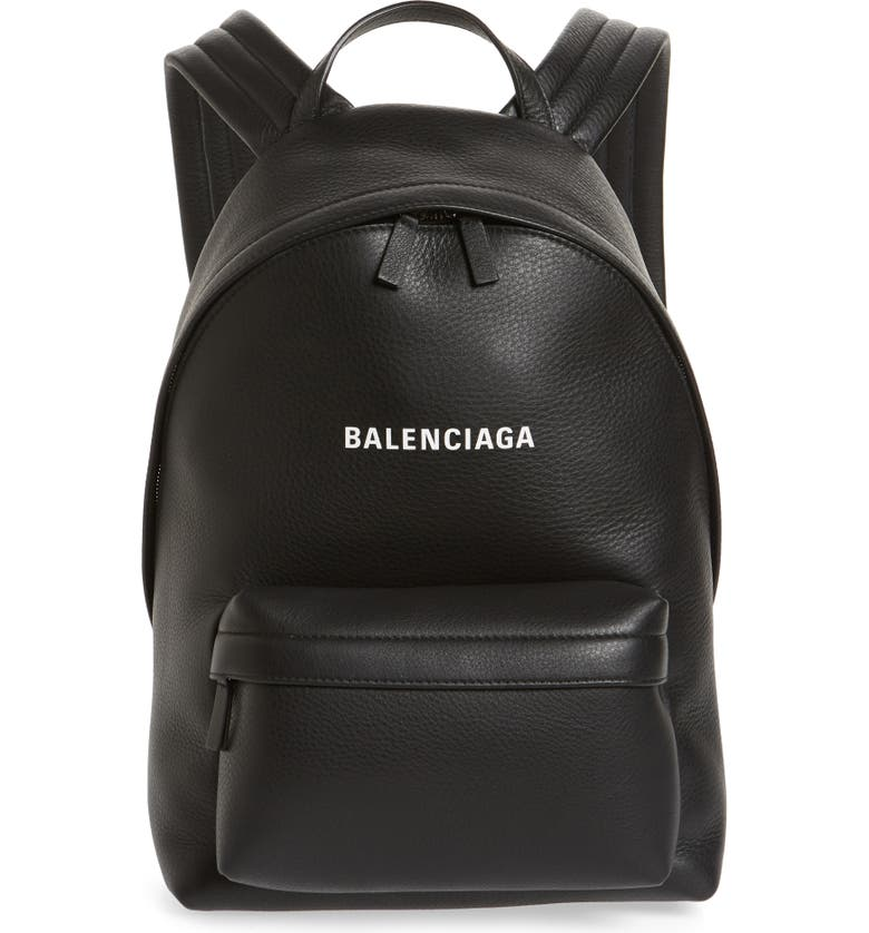 BALENCIAGA Everyday Calfskin Leather Backpack, Main, color, 001