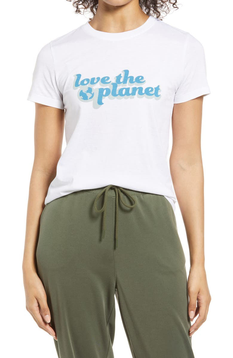 HALOGEN <sup>®</sup> Love the Planet Graphic Tee, Main, color, WHITE