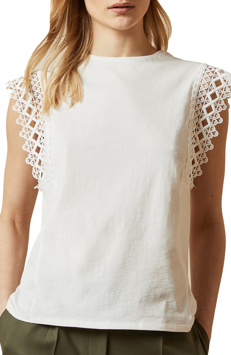 TED BAKER LONDON Ulayna Lace Detail Top, Main, color, IVORY