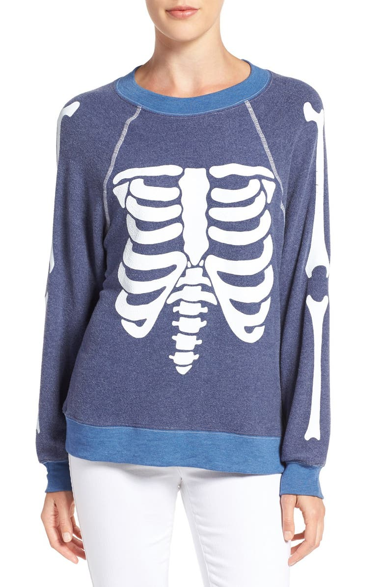 WILDFOX 'Inside Out' Skeleton Print Pullover, Main, color, 401