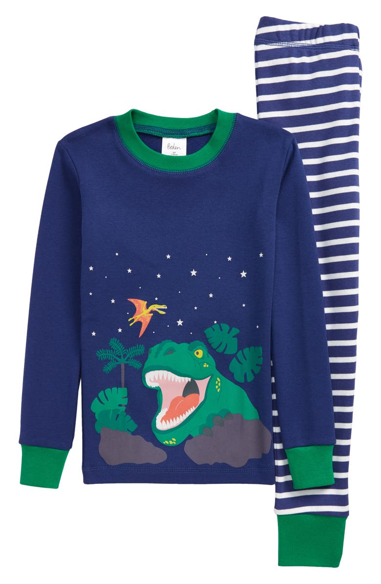 MINI BODEN Kids' Fitted Two-Piece Pajamas, Main, color, STARBOARD BLUE DINO SCENE