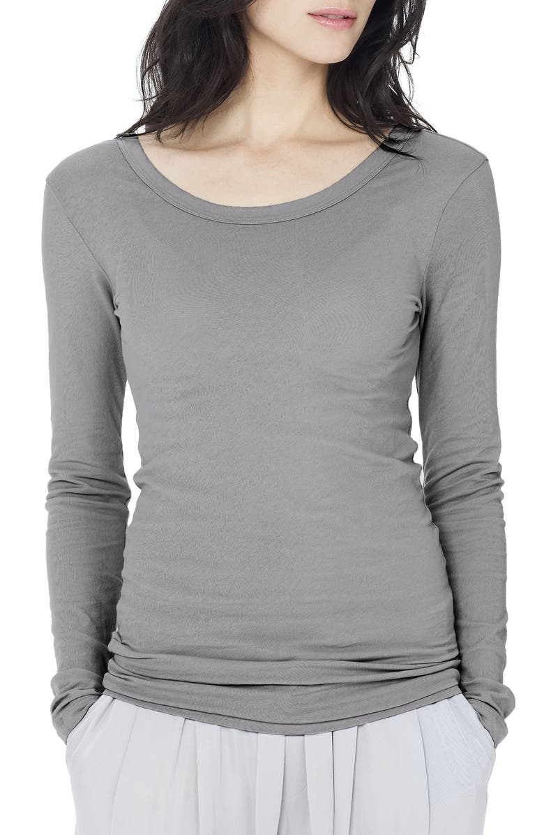 JAMES PERSE 'Ballet' Long Sleeve Tee, Main, color, SILVER FOX PIGMENT