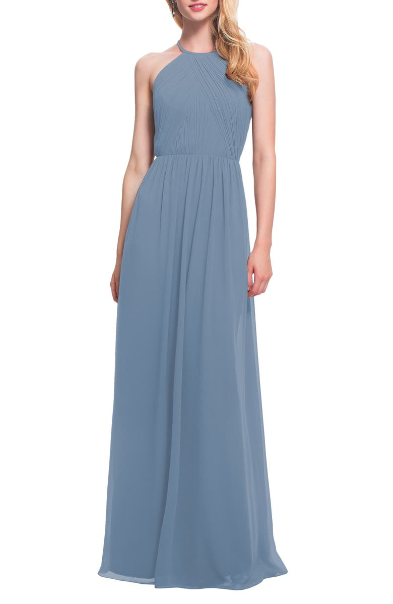 #LEVKOFF Halter Neck Chiffon A-Line Gown, Main, color, SLATE