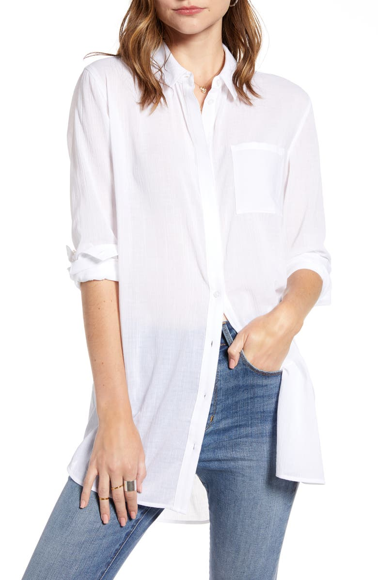 TREASURE & BOND Gauzy Tunic Shirt, Main, color, WHITE