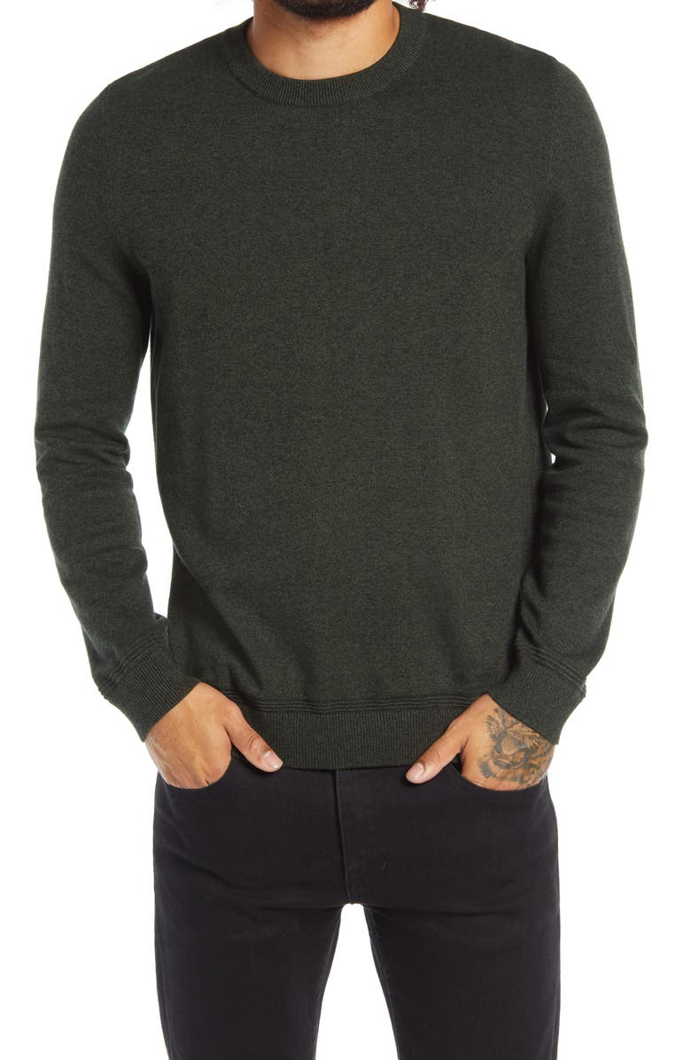 TOPMAN Essential Twist Crewneck Sweater, Main, color, GREEN