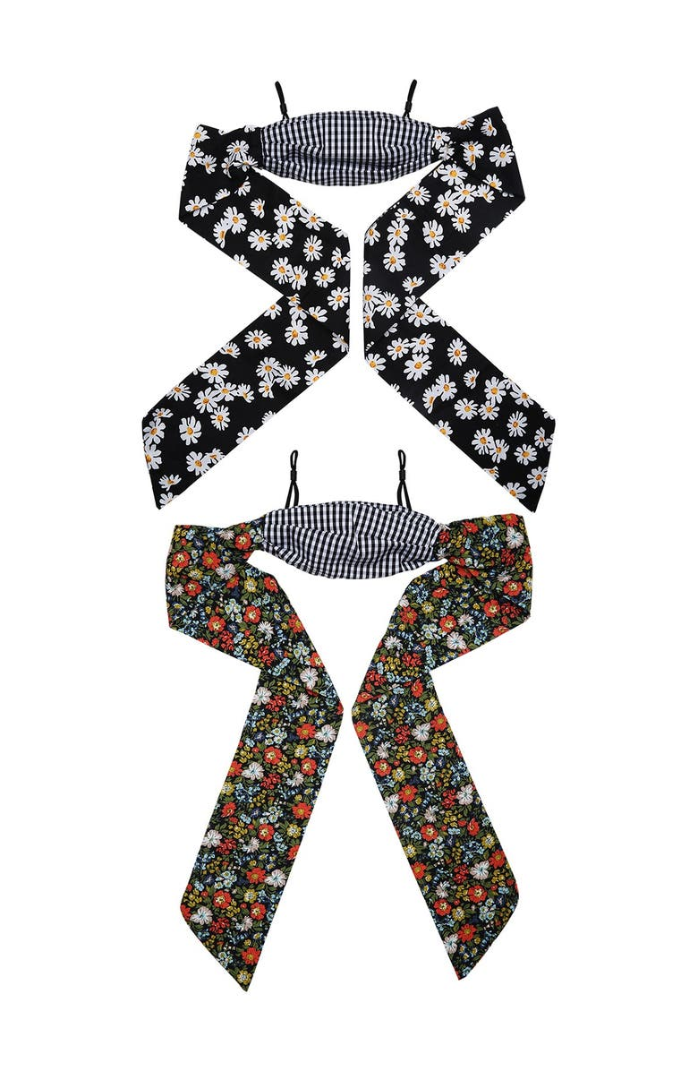 BERRY Floral Tie Back Reusable Face Mask - Pack of 2, Main, color, BLACK WHITE