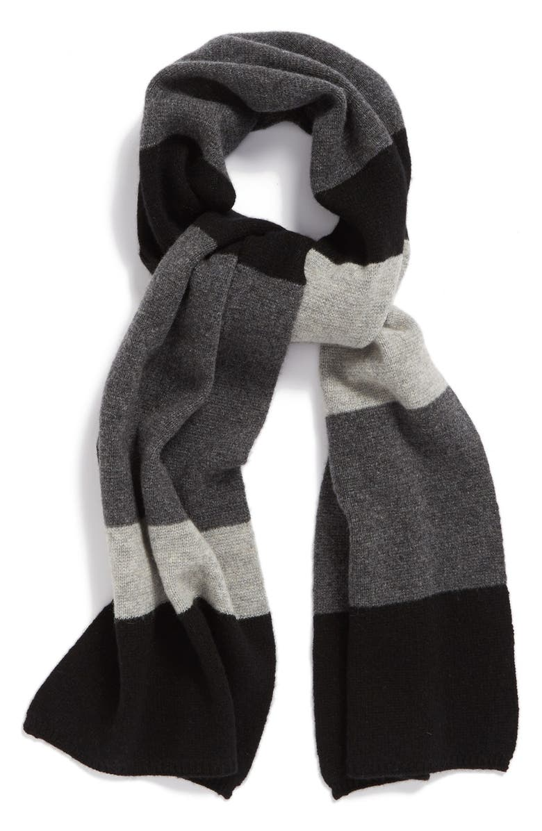 HALOGEN<SUP>®</SUP> Colorblock Cashmere Muffler, Main, color, 001