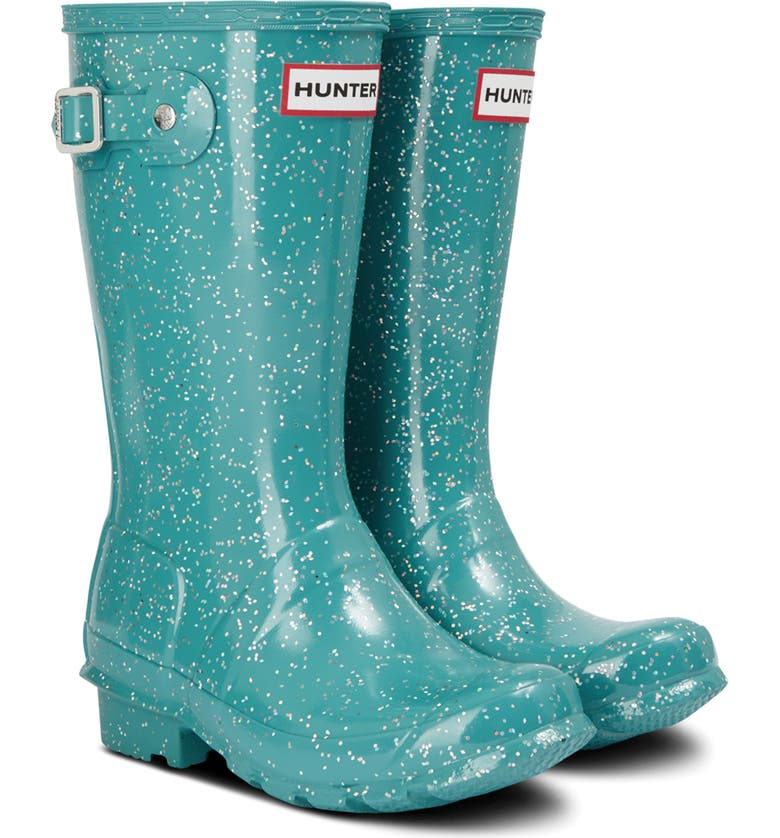 HUNTER Original Giant Glitter Waterproof Rain Boot, Main, color, BLUE SPRUCE