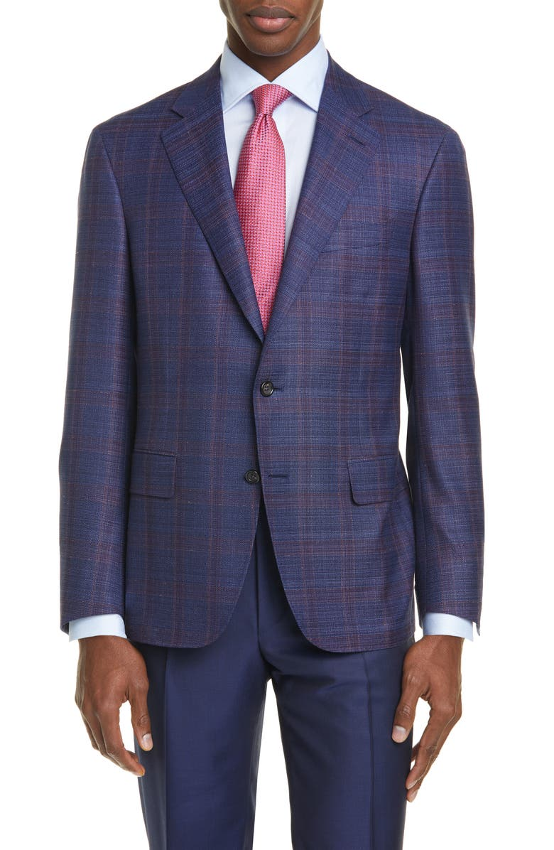 CANALI Kei Classic Fit Windowpane Plaid Wool Sport Coat, Main, color, 400