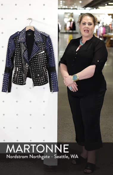 Colorblock Studded Lambskin Leather Biker Jacket, sales video thumbnail