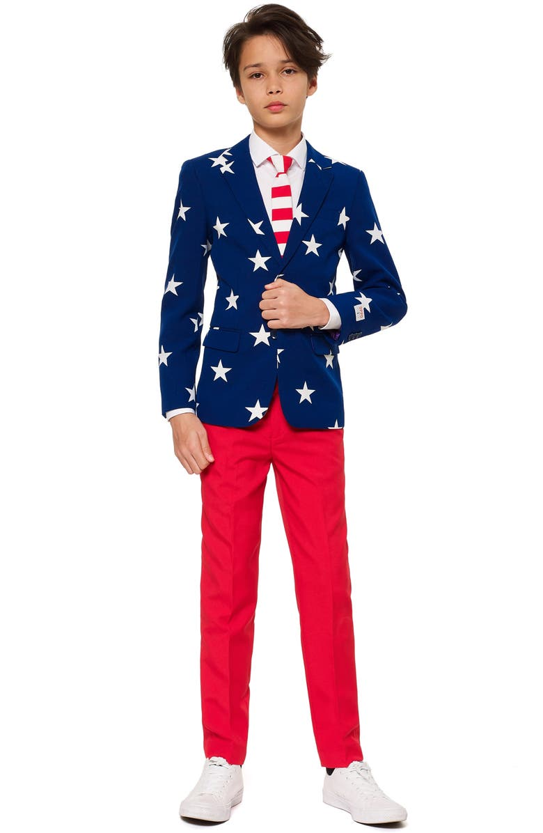 OPPOSUITS Stars & Stripes Two-Piece Suit with Tie, Main, color, 400